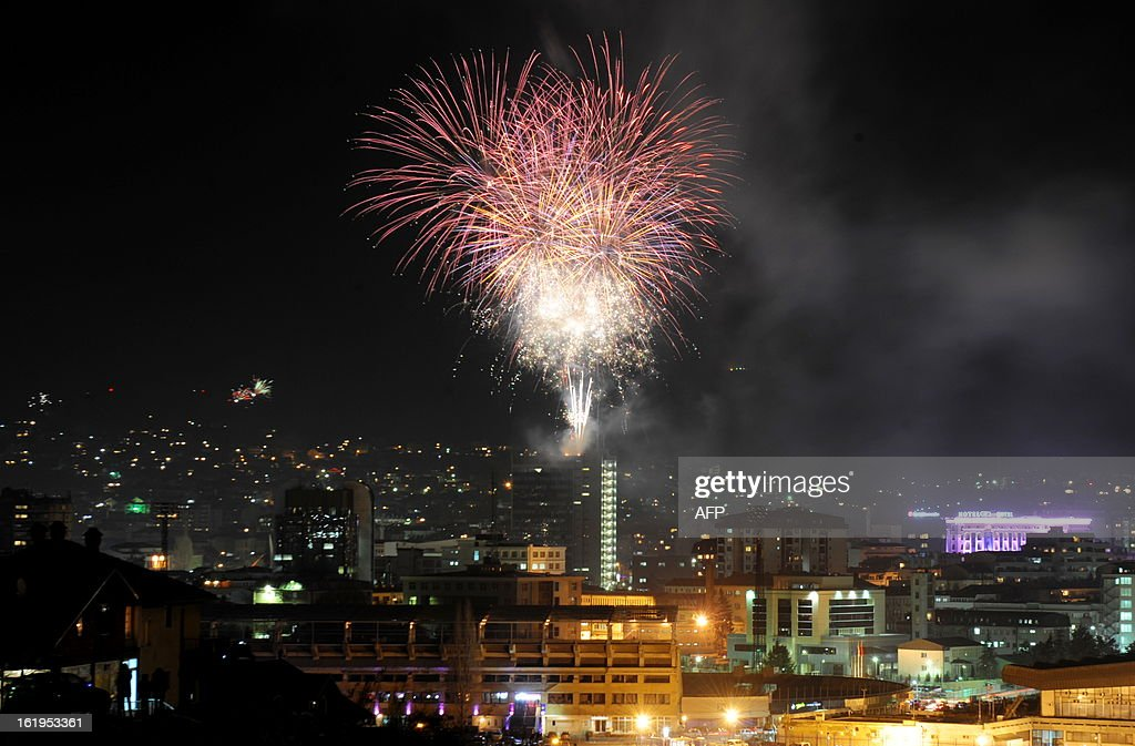 Fireworks illuminate Pristina's skyline on February 17, 2013 during celebrations marking the fifth anniversary of Kosovo's unilateral declaration of independence from Serbia.Almost 100 countries -- including the United States -- have recognised Kosovo since ethnic Albanians proclaimed independence on February 17, 2008, almost a decade after the 1998-1999 conflict that ended with a NATO bombing campaign against late Serbian strongman Slobodan Milosevic's forces.