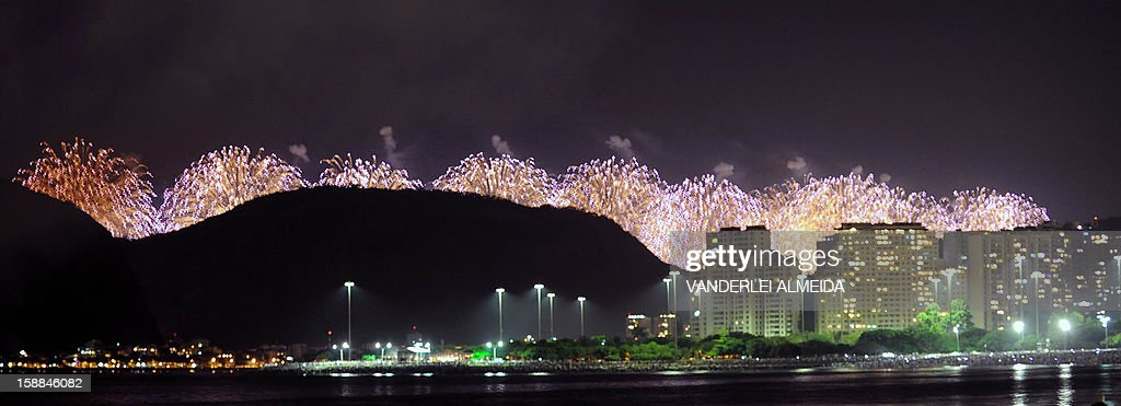 Fireworks illuminate the night sky before Sugar Loaf Mountain in Rio de Janeiro to mark the start of New Year's Day on January 1, 2013. World cities from Sydney and Hong Kong to Dubai and London rang in the New Year with spectacular fireworks, as revelers at Times Square in New York sought to top off the global extravaganza. AFP PHOTO / VANDERLEI ALMEIDA