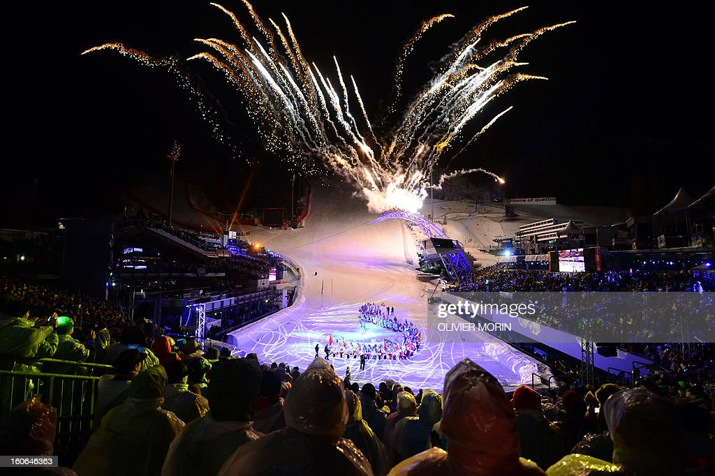 Fireworks illuminate the sky during the opening ceremony of the FIS World Ski Championships on February 4, 2013 in Schladming.