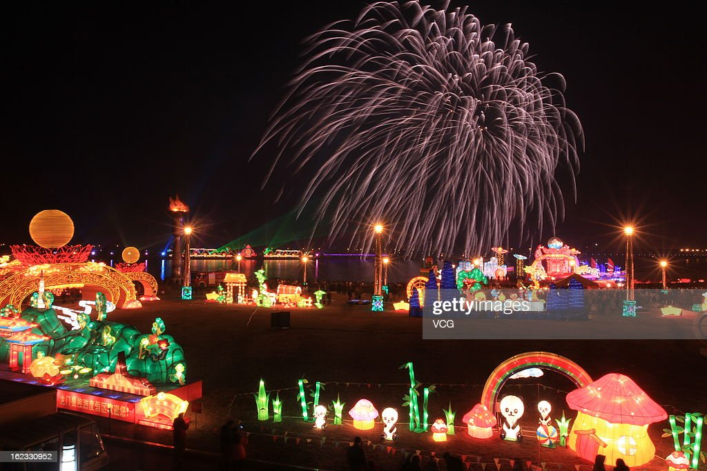 Fireworks illuminate the skyline during a lantern show to celebrate the Spring Festival on February 21, 2013 in Rizhao, China. The Chinese Lunar New Year of Snake also known as the Spring Festival, which is based on the Lunisolar Chinese calendar, is celebrated from the first day of the first month of the lunar year and ends with Lantern Festival on the Fifteenth day.
