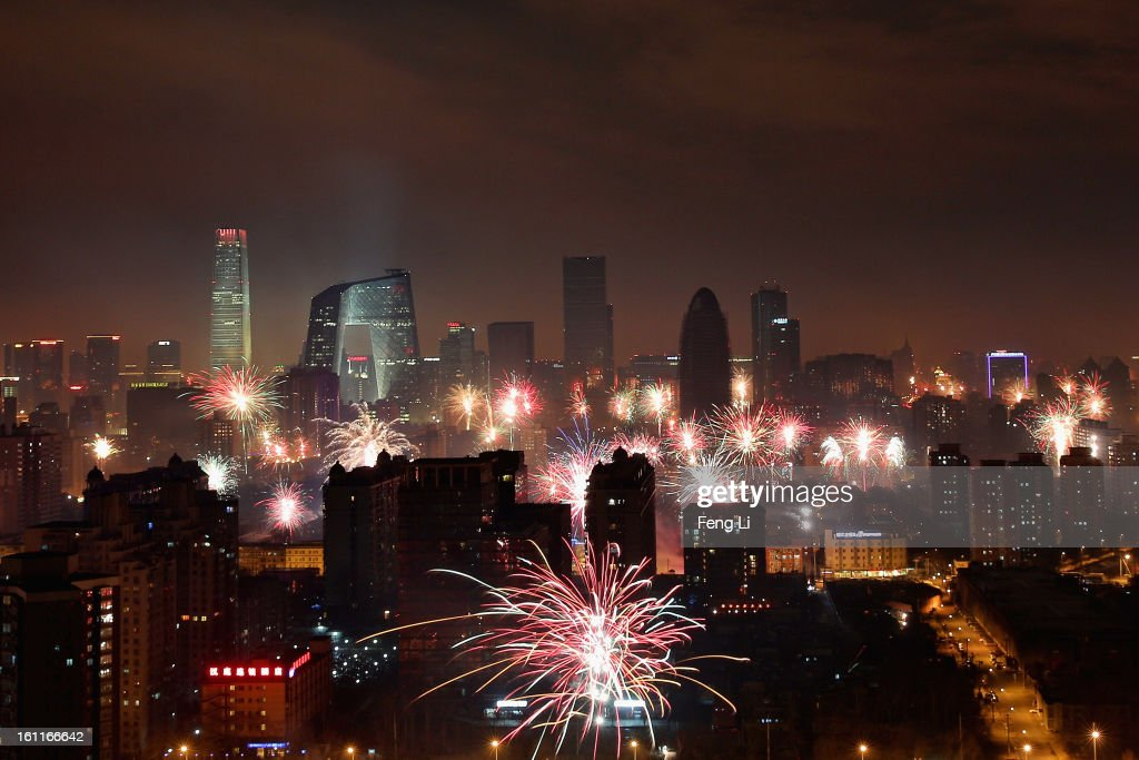 Fireworks illuminate the skyline to celebrate Chinese Lunar New Year of Snake and cause severe air pollution on February 9, 2013 in Beijing, China. The Chinese Lunar New Year of Snake also known as the Spring Festival, which is based on the Lunisolar Chinese calendar, is celebrated from the first day of the first month of the lunar year and ends with Lantern Festival on the Fifteenth day.