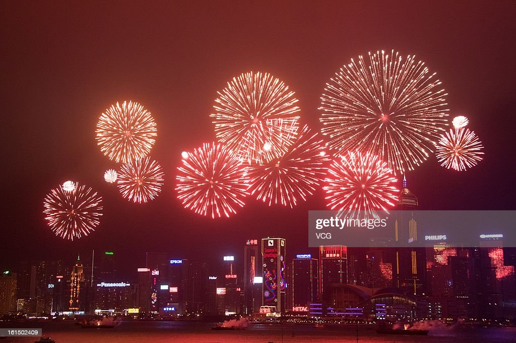 Fireworks illuminate the skyline to celebrate Chinese Lunar New Year of Snake on February 11, 2013 in Hong Kong, Hong Kong. The Chinese Lunar New Year of Snake also known as the Spring Festival, which is based on the Lunisolar Chinese calendar, is celebrated from the first day of the first month of the lunar year and ends with Lantern Festival on the Fifteenth day.