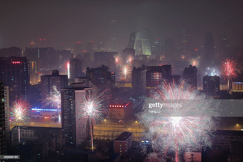 Fireworks illuminate the skyline to celebrate Chinese Lunar New Year of Horse and cause severe air pollution on January 30, 2014 in Beijing, China. The Chinese Lunar New Year of Horse also known as the Spring Festival, which is based on the Lunisolar Chinese calendar, is celebrated from the first day of the first month of the lunar year and ends with Lantern Festival on the Fifteenth day.