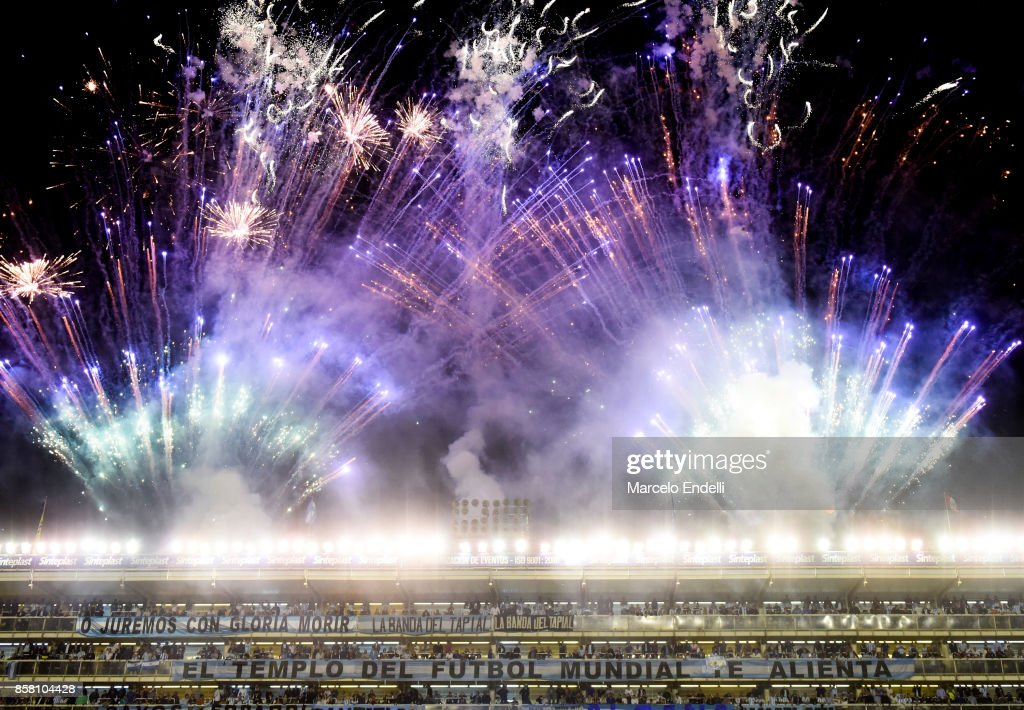 Fireworks in Alberto J. Armando Stadium are seenbefore a match between Argentina and Peru as part of FIFA 2018 World Cup Qualifiers at Estadio Alberto J. Armando on October 5, 2017 in Buenos Aires, Argentina.