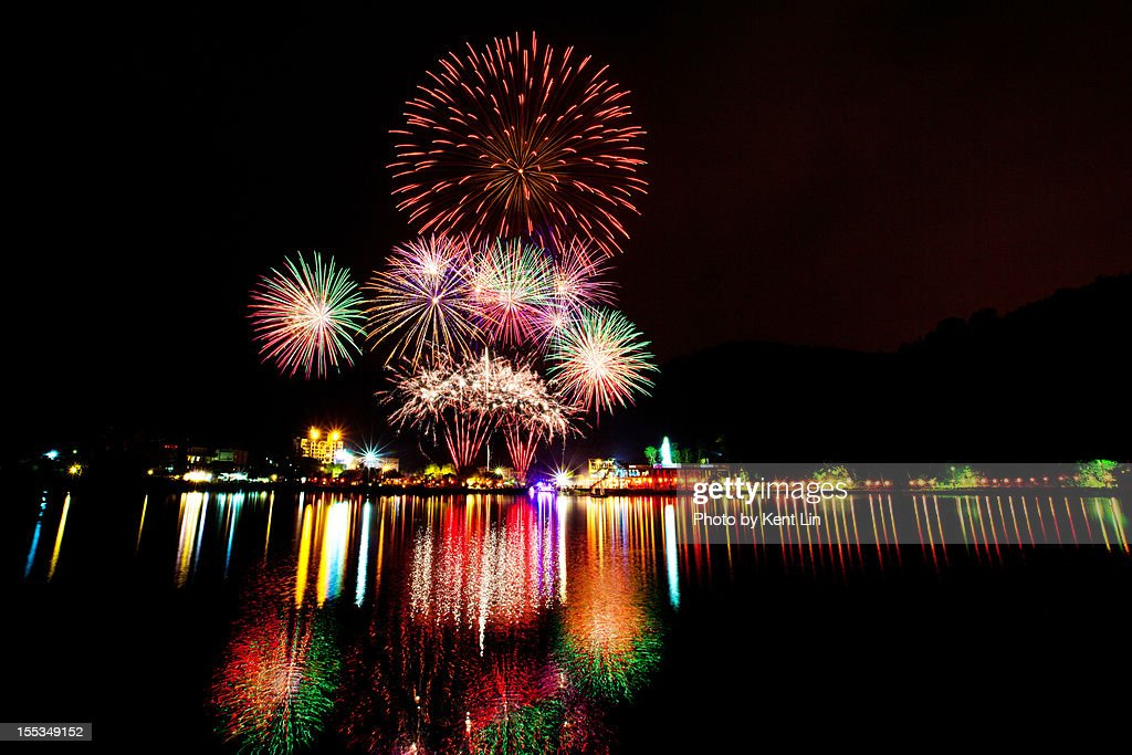Fireworks in Liyu Lake : Stock Photo