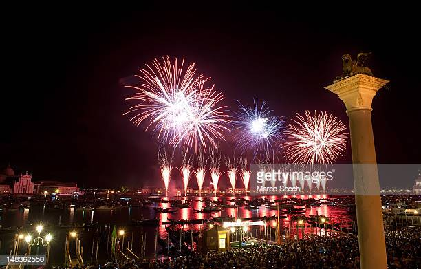 Fireworks in St Mark's basin at the end of the first day of Redentore celebrations on July 14 2012 in Venice Italy Redentore is one of the most loved...