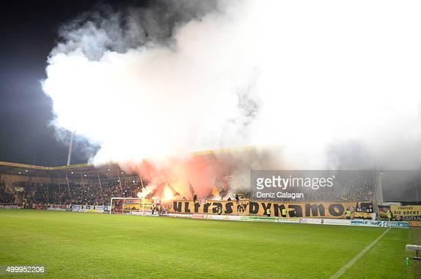 Fireworks in the Dynamo Dresden supporters block during the dritte LIga match between SG Sonnenhof Grossaspach vs Dynamo Dresden on December 4 2015...