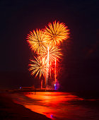 Multi colored Fireworks in the dark blue sky reflected on the wet sand and in the sea at Bournemouth Pier