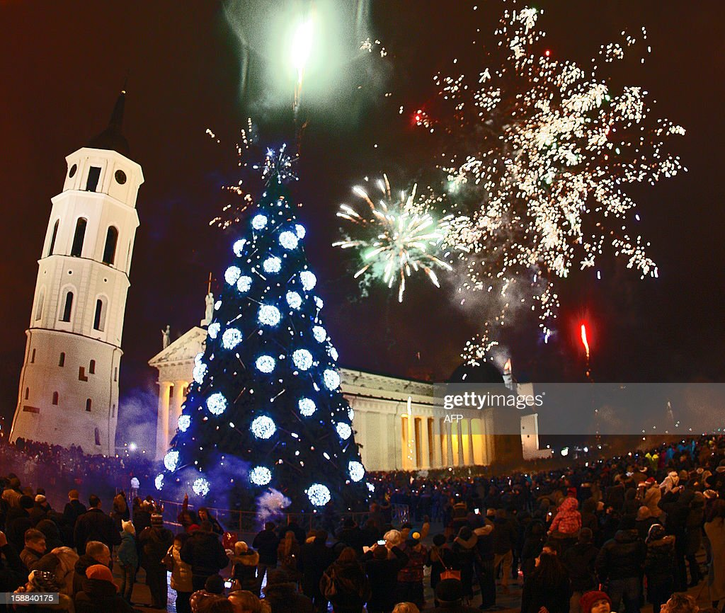 Fireworks light the sky above the Cathedral square in Vilnius during the New Year celebrations on January 1, 2013. AFP PHOTO / Petras MALUKAS