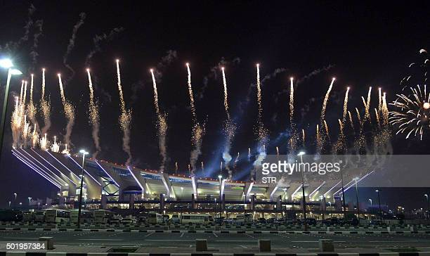 Fireworks light the sky before a friendly ceremonial football match between Kuwait allstars team and Football Champions Tour Legends on December 18...