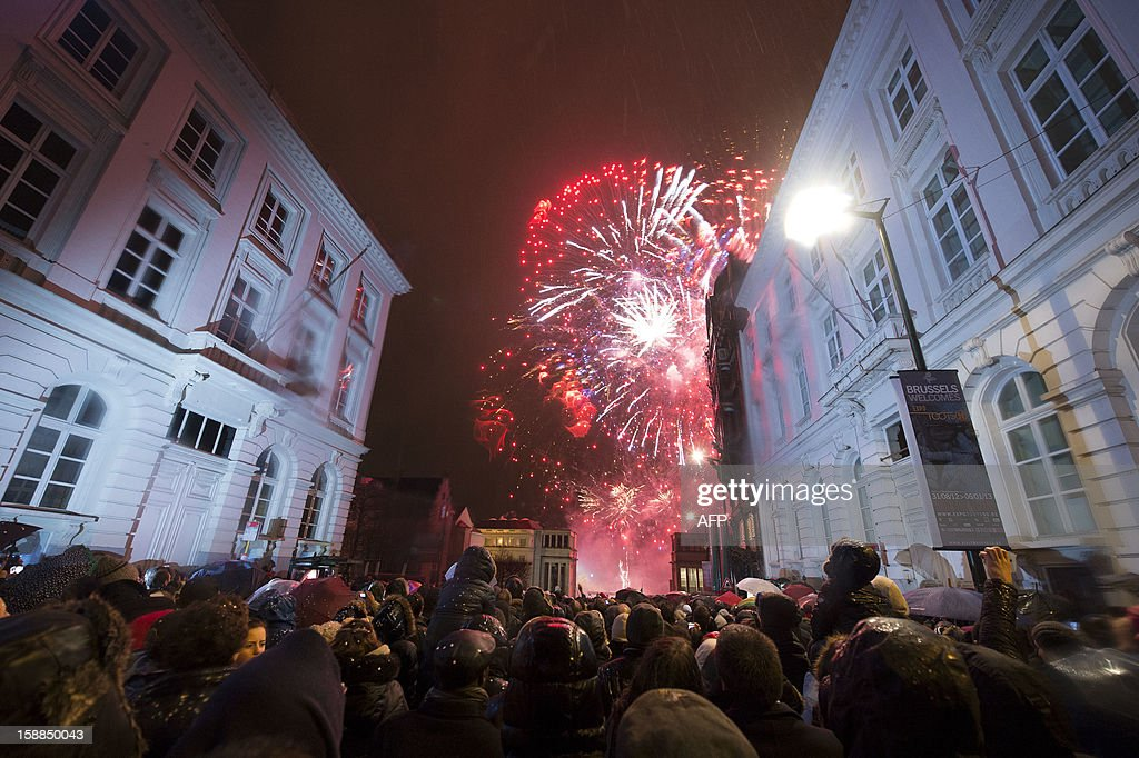 Fireworks light the sky during the New Year celebrations on January 1, 2013 at the Kunstberg in Brussels.