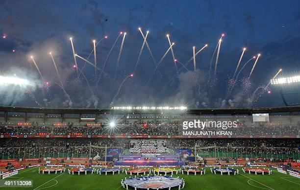 Fireworks light up a ceremony before the start of the Indian Super League football match between Chennaiyin FC and AtleticodeKolkata in Chennai on...