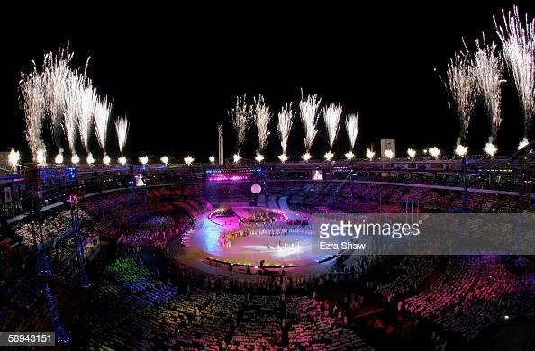 Fireworks light up around the stadium as the ceremony comes to a close during the Closing Ceremony of the Turin 2006 Winter Olympic Games on February...
