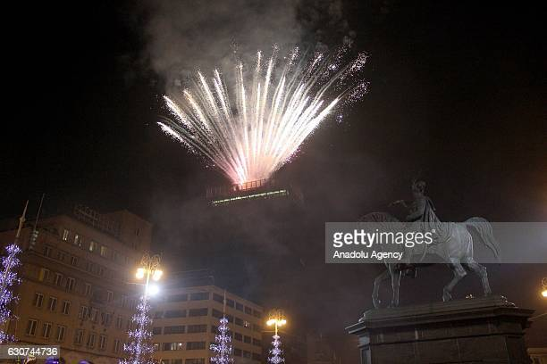 Fireworks light up over the Ban Jelavic Square during the new year celebrations in Zagreb Croatia on January 01 2017