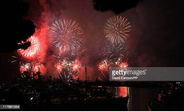 Fireworks light up the night sky after the religious ceremony of the Royal Wedding of Prince Albert II of Monaco to Princess Charlene of Monaco at...