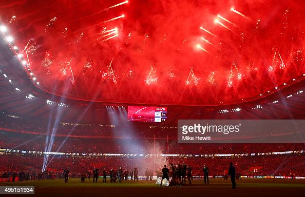 Fireworks light up the night sky as New Zealand celebrate winning the 2015 Rugby World Cup Final match between New Zealand and Australia at...