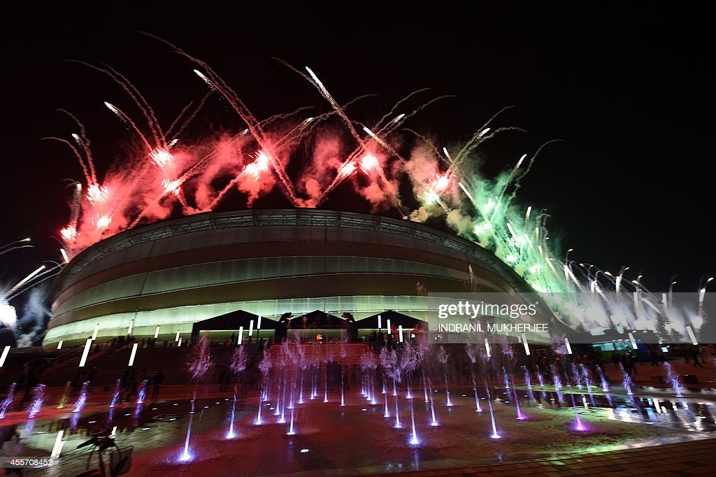 Fireworks light up the night sky during the opening ceremony of the 2014 Asian Games at the Incheon Asiad Main Stadium in Incheon on September 19...