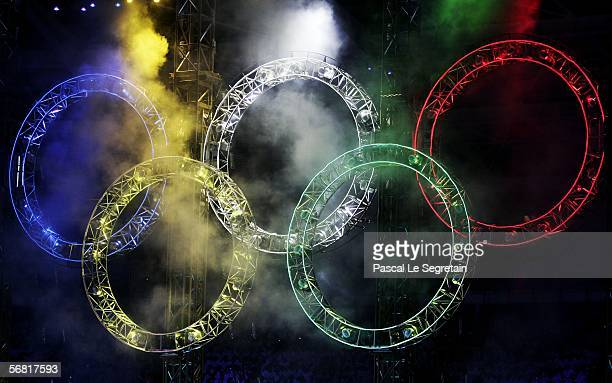 Fireworks light up the Olympic rings during the Opening Ceremony of the Turin 2006 Winter Olympic Games on February 10 2006 at the Olympic Stadium in...