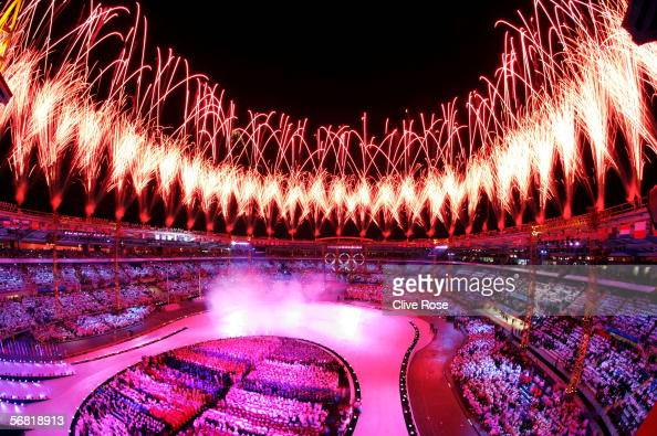 Fireworks light up the Olympic stadium during the Opening Ceremony of the Turin 2006 Winter Olympic Games on February 10 2006 in Turin Italy