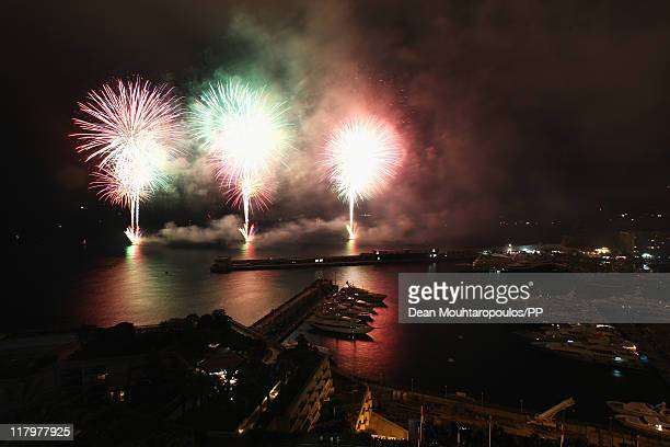 Fireworks light up the sky and harbour in front of the Mante Carlo Casino after the religious ceremony of the Royal Wedding of Prince Albert II of...
