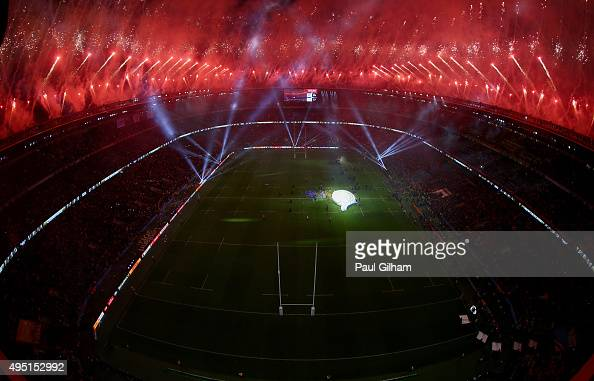Fireworks light up the sky as the New Zealand team celebrate victory in the 2015 Rugby World Cup Final match between New Zealand and Australia at...