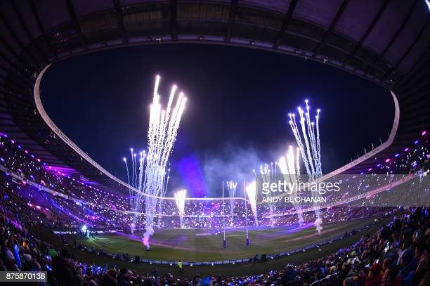 Fireworks light up the sky before the international rugby union test match between Scotland and New Zealand at Murrayfield stadium in Edinburgh on...