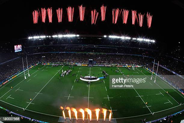 Fireworks light up the sky during the 2011 IRB Rugby World Cup Final match between France and New Zealand at Eden Park on October 23 2011 in Auckland...