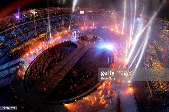 Fireworks light up the sky during the Closing Ceremony of the Turin 2006 Winter Olympic Games on February 26 2006 at the Olympic Stadium in Turin...