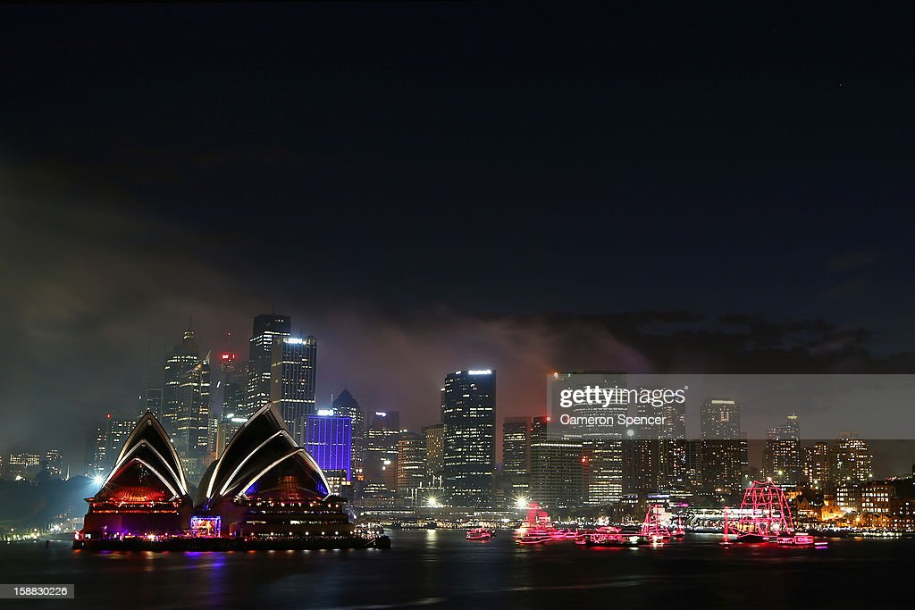 Fireworks light up the sky during the nine o'clock show during New Years Eve celebrations on Sydney Harbour on December 31, 2012 in Sydney, Australia.