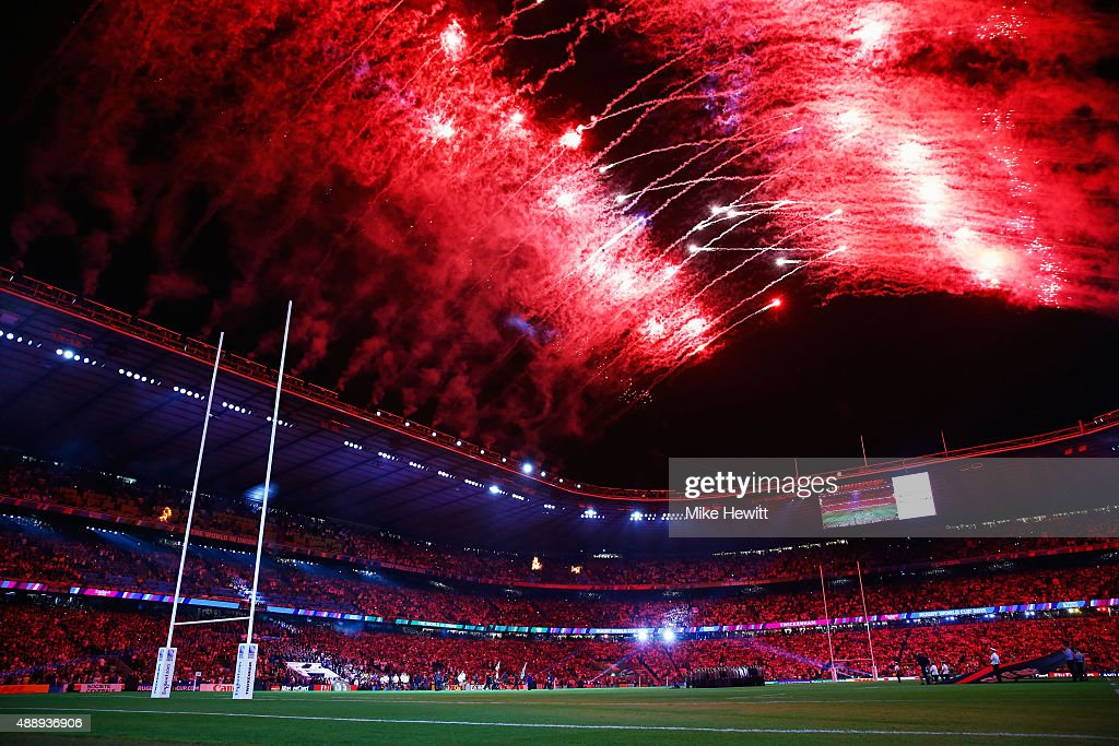 Fireworks light up the sky during the opening ceremony ahead of the 2015 Rugby World Cup Pool A match between England and Fiji at Twickenham Stadium on September 18, 2015 in London, United Kingdom.