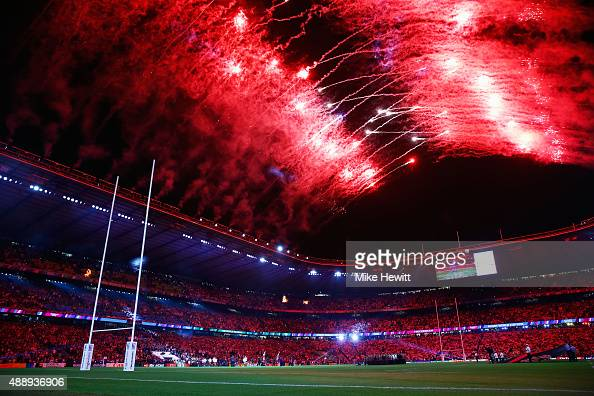 Fireworks light up the sky during the opening ceremony ahead of the 2015 Rugby World Cup Pool A match between England and Fiji at Twickenham Stadium...