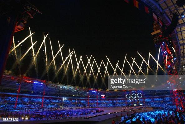 Fireworks light up the sky during the Opening Ceremony of the Turin 2006 Winter Olympic Games on February 10 2006 at the Olympic Stadium in Turin...