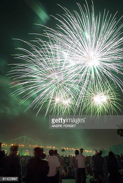 Fireworks light up the sky during the opening of the Mondial SAQ an international fireworks competition in Montreal 20 June 2001 The competition will...