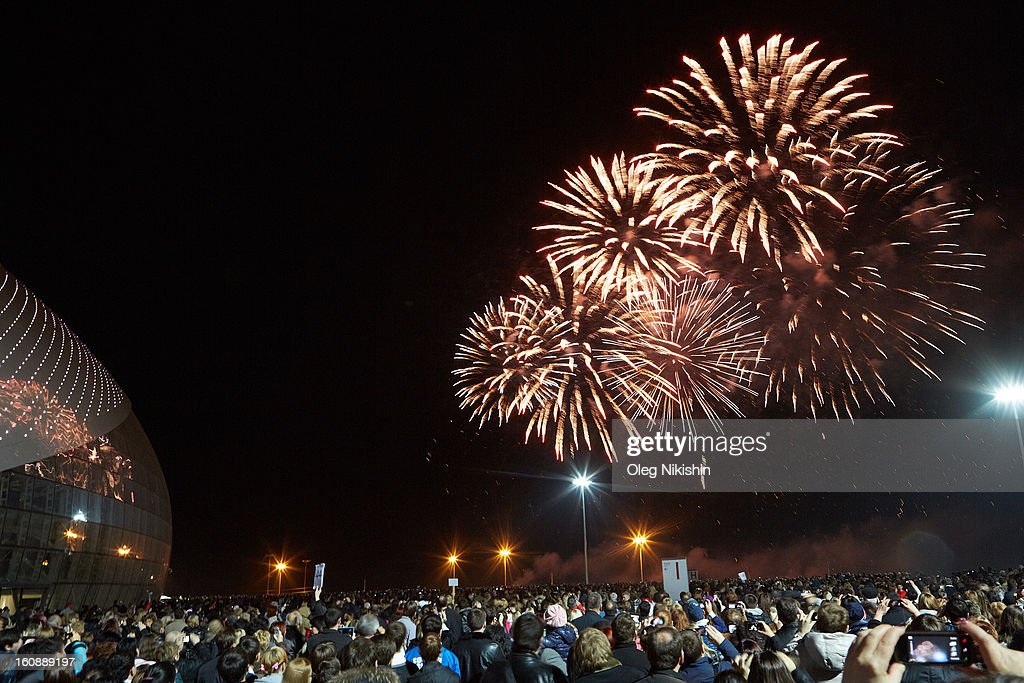 Fireworks light up the sky during the 'Sochi 2014 - One Year To Go' ceremony at Bolshoi Ice Dome on February 7, 2013 in Sochi, Russia.