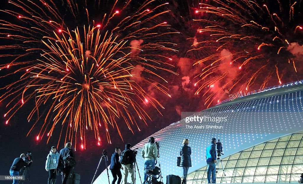 Fireworks light up the sky over Bolshoi Ice Dome during the 'One Year To Go Before Sochi Winter Olympic' ceremony on February 7, 2013 in Sochi, Russia. Sochi Winter Olympics begins on February 7, 2014.
