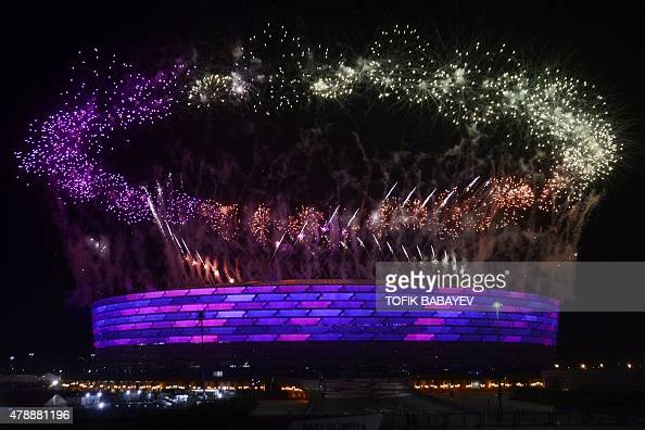 Fireworks light up the sky over the Olympic Stadium during the closing ceremony of the 2015 European Games in Baku on June 28 2015 AFP PHOTO / TOFIK...