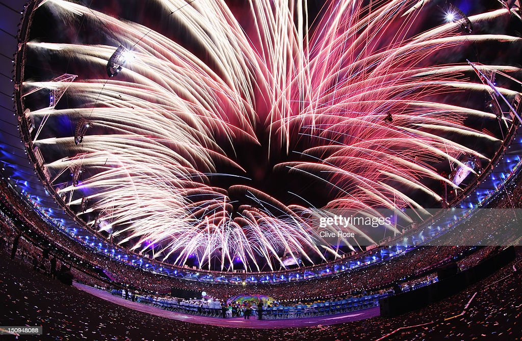 Fireworks light up the stadium during the Opening Ceremony of the London 2012 Paralympics at the Olympic Stadium on August 29 2012 in London England