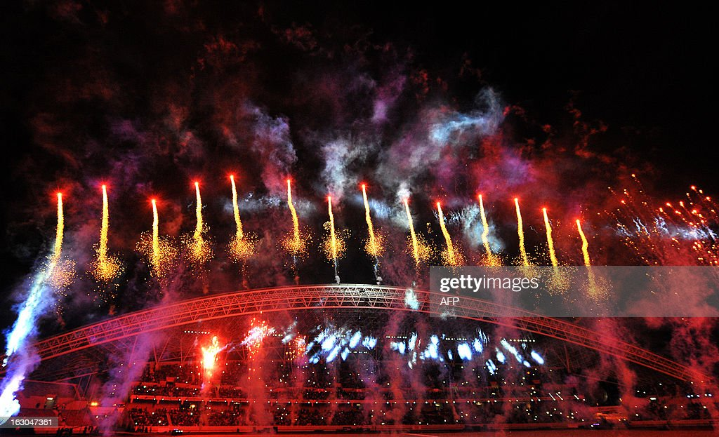 Fireworks like up the sky over the stadium during the opening ceremony for the 2013 Central American Games in San Jose on March 3, 2013. The 10th Central American Games are taking place from March 3 to 17 in Costa Rica. AFP PHOTO / Ezequiel BECERRA