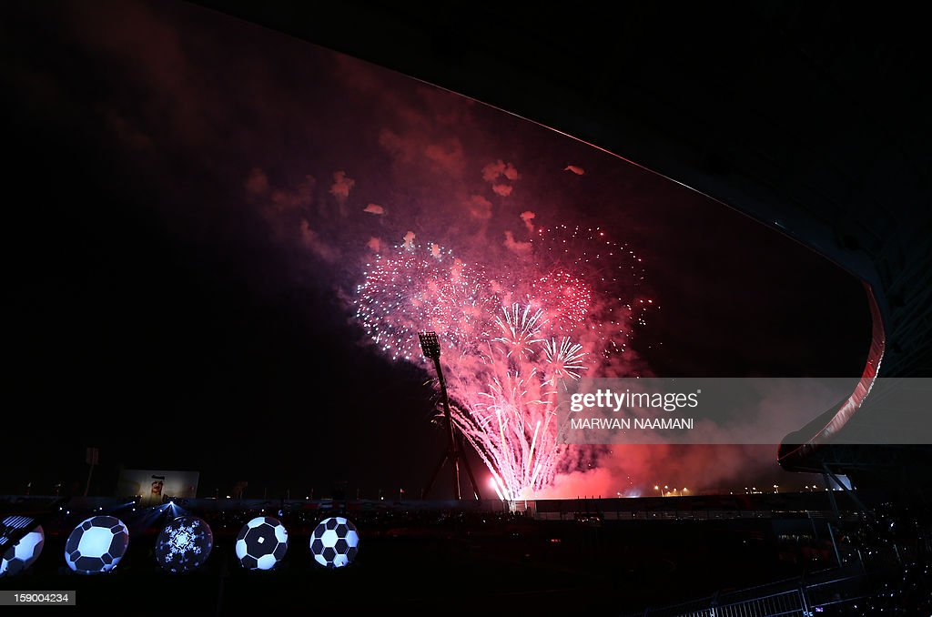 Fireworks lit the sky during the opening ceremony ahead of the football match between Bahrain and Oman in the 21st Gulf Cup tournament in the Bahraini capital Manama, on January 5, 2013. Eight nations are taking part in the games and they include Qatar, UAE, Kuwait, Yemen, Saudi Arabia, Iraq along with Bahrain and Oman.