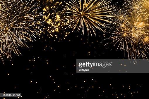 fireworks on black background : Stock Photo