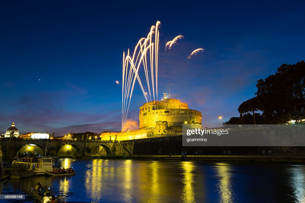 Fireworks on Castel Sant'Angel (Mausoleum of Hadrian). Rome - Italy : Stock Photo