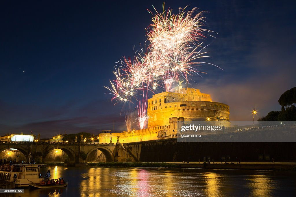 Fireworks on Castel Sant'Angel (Mausoleum of Hadrian). Rome - Italy : Stock Photo