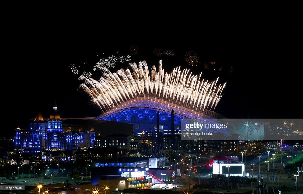 Fireworks on display over Fisht Olympic Stadium in the Olympic Park during the Opening Ceremony of the Sochi 2014 Winter Olympics at Fisht Olympic...