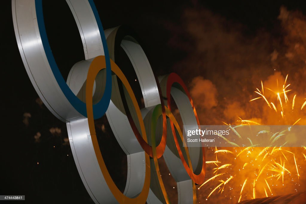 Fireworks on display over the Olympic Park during the Closing Ceremony of the Sochi 2014 Winter Olympics at Fisht Olympic Stadium on February 23, 2014 in Sochi, Russia.