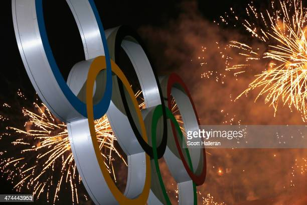 Fireworks on display over the Olympic Park during the Closing Ceremony of the Sochi 2014 Winter Olympics at Fisht Olympic Stadium on February 23 2014...