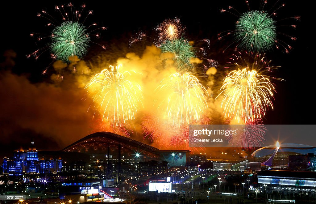 Fireworks on display over the Olympic Park during the Opening Ceremony of the Sochi 2014 Winter Olympics at Fisht Olympic Stadium on February 7 2014...