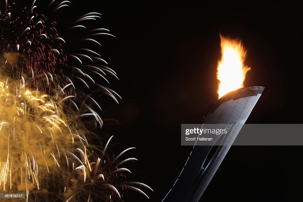 Fireworks on display over the Olympic Park during the Opening Ceremony of the Sochi 2014 Winter Olympics at Fisht Olympic Stadium on February 7, 2014 in Sochi, Russia.