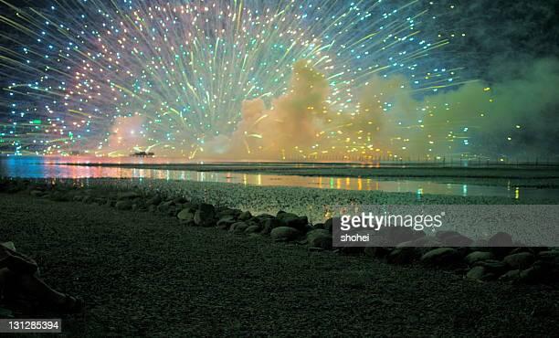 Fireworks on lake
