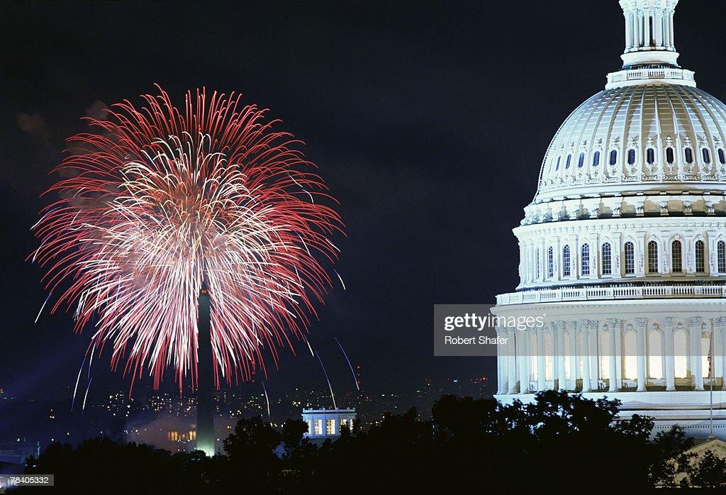 Fireworks on the Fourth of July, Washington, D.C. : Stock Photo