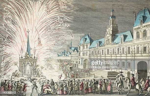 Fireworks outside City Hall in Paris to celebrate the beginning of peace and the end of the Seven Year War France 18th Century Engraving